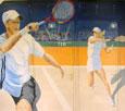 Peinture décorative réalisée sur le mur du Tennis Club de Reillanne - 300 x 250 cm