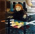La poupée et le reflet : Acrylique sur toile - 70 x 70 cm